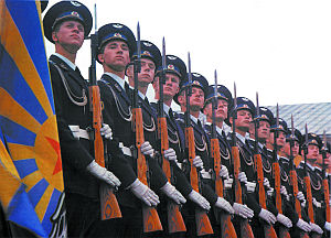 Фото карабина СКС в руках роты почётного караула