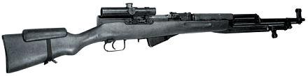 7,62-мм самозарядный карабин Симонова СКС в снайперском варианте.